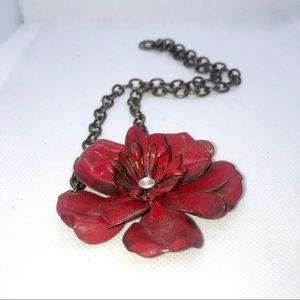handcrafted Jewelry - New- Red Metal Flower Statement Necklace